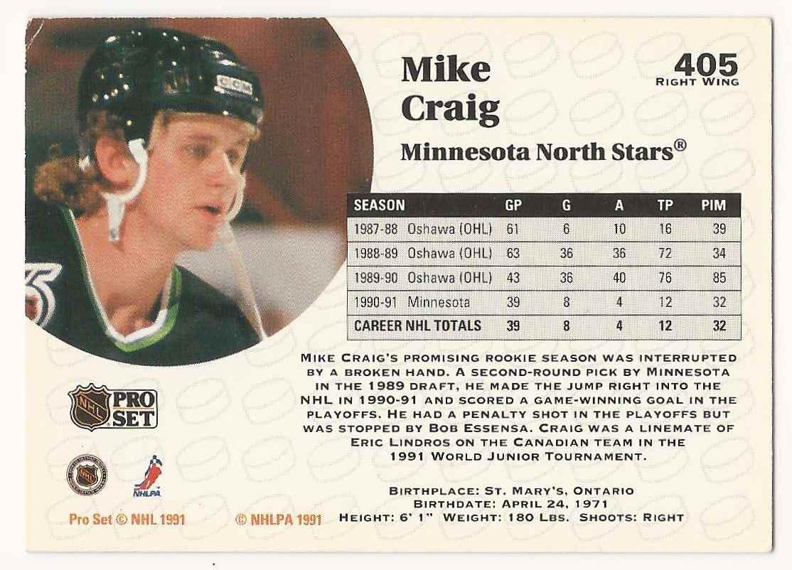 1991-92 Pro Set Mike Craig #405 card back image