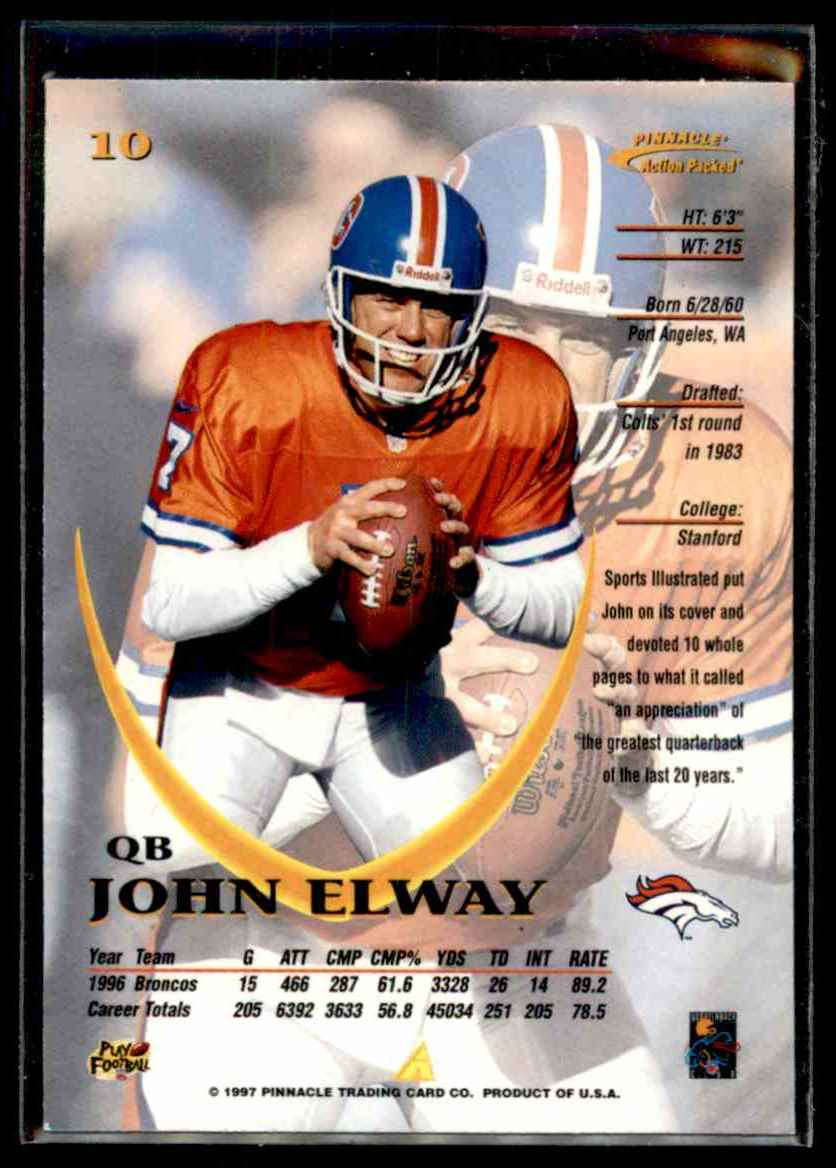 1997 Action Packed John Elway #10 card back image