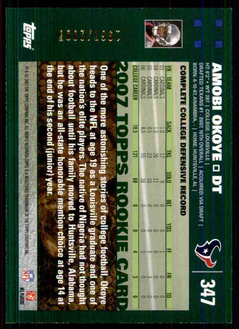 2007 Topps Copper Amobi Okoye #347 card back image