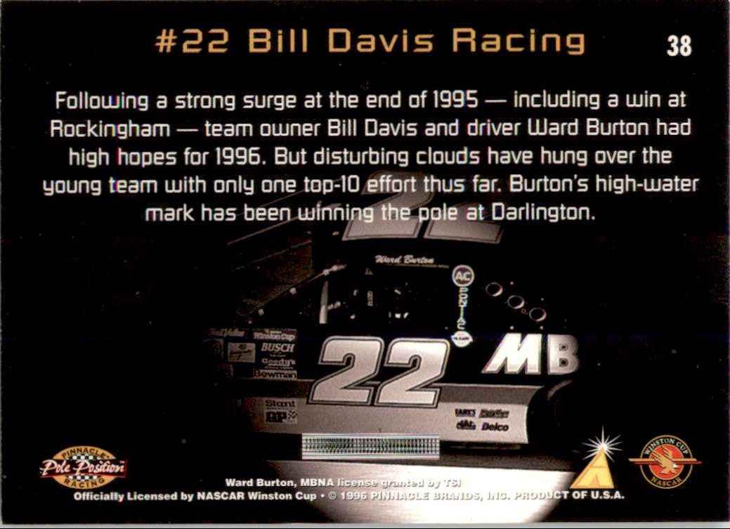 1996 Pinnacle Pole Position Ward Burton's Car #38 card back image