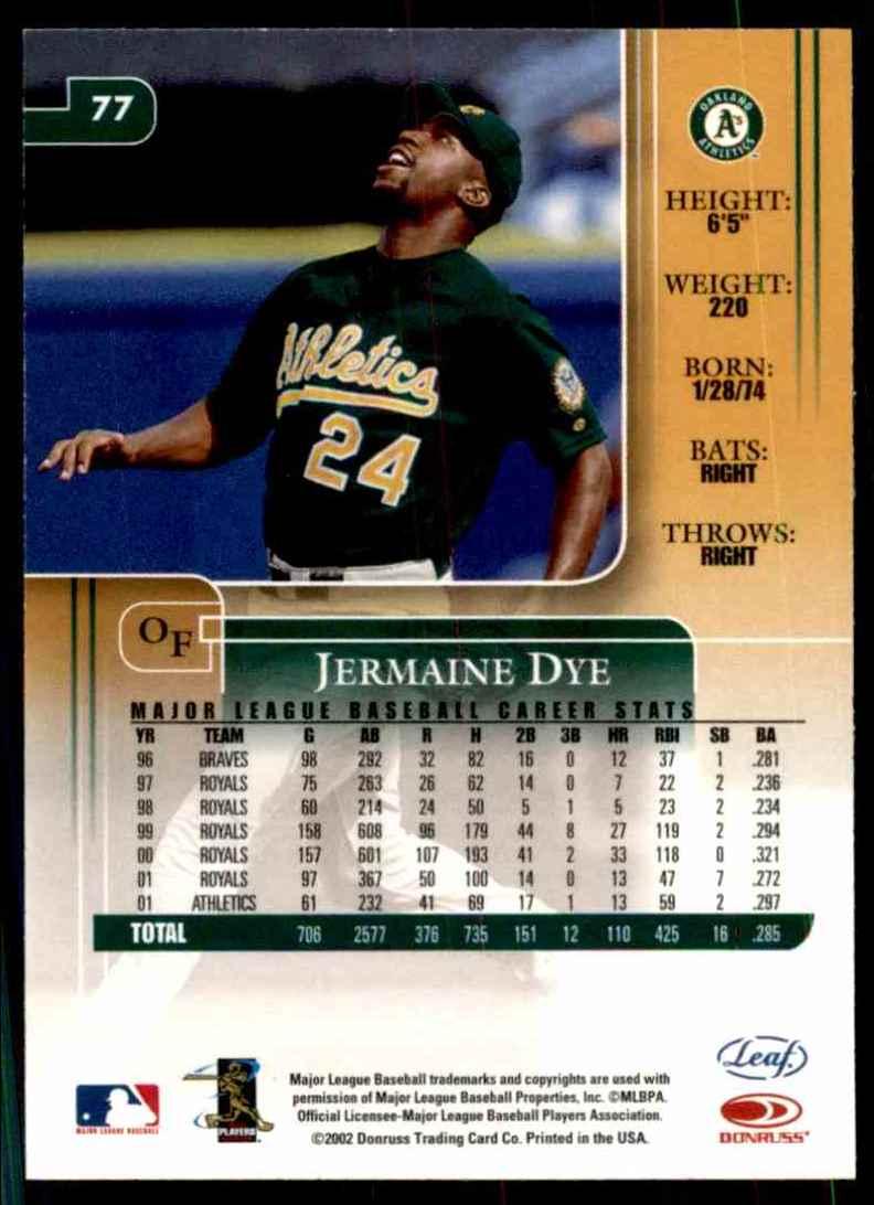 2002 Leaf Rookies & Stars Jermaine Dye A's #77 card back image
