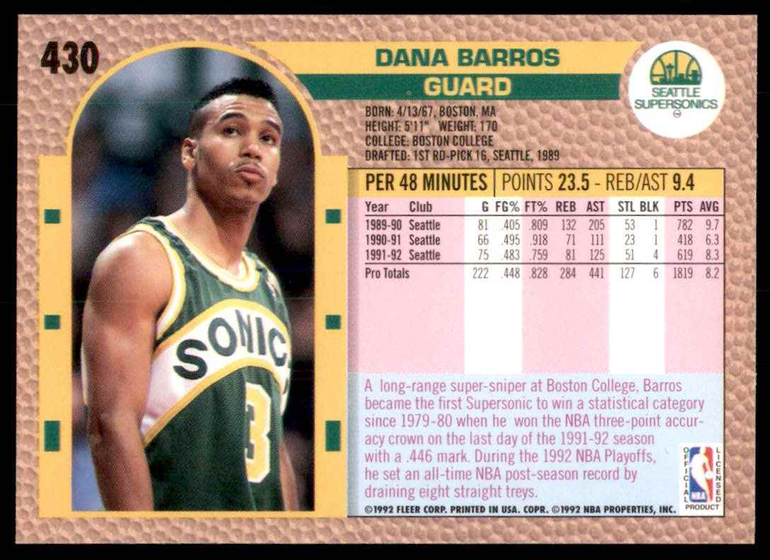 1992-93 Fleer Dana Barros #430 card back image