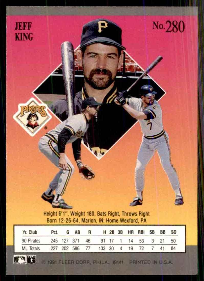 1991 Ultra Jeff King #280 card back image