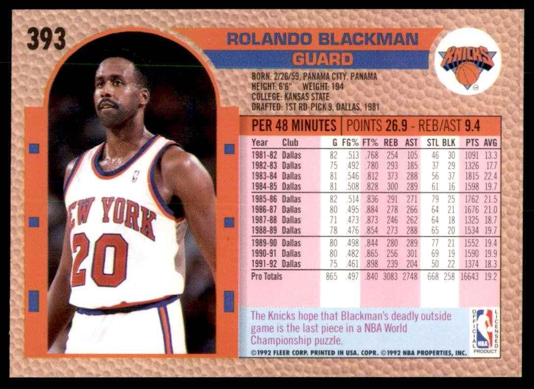 1992-93 Fleer Rolando Blackman #393 card back image