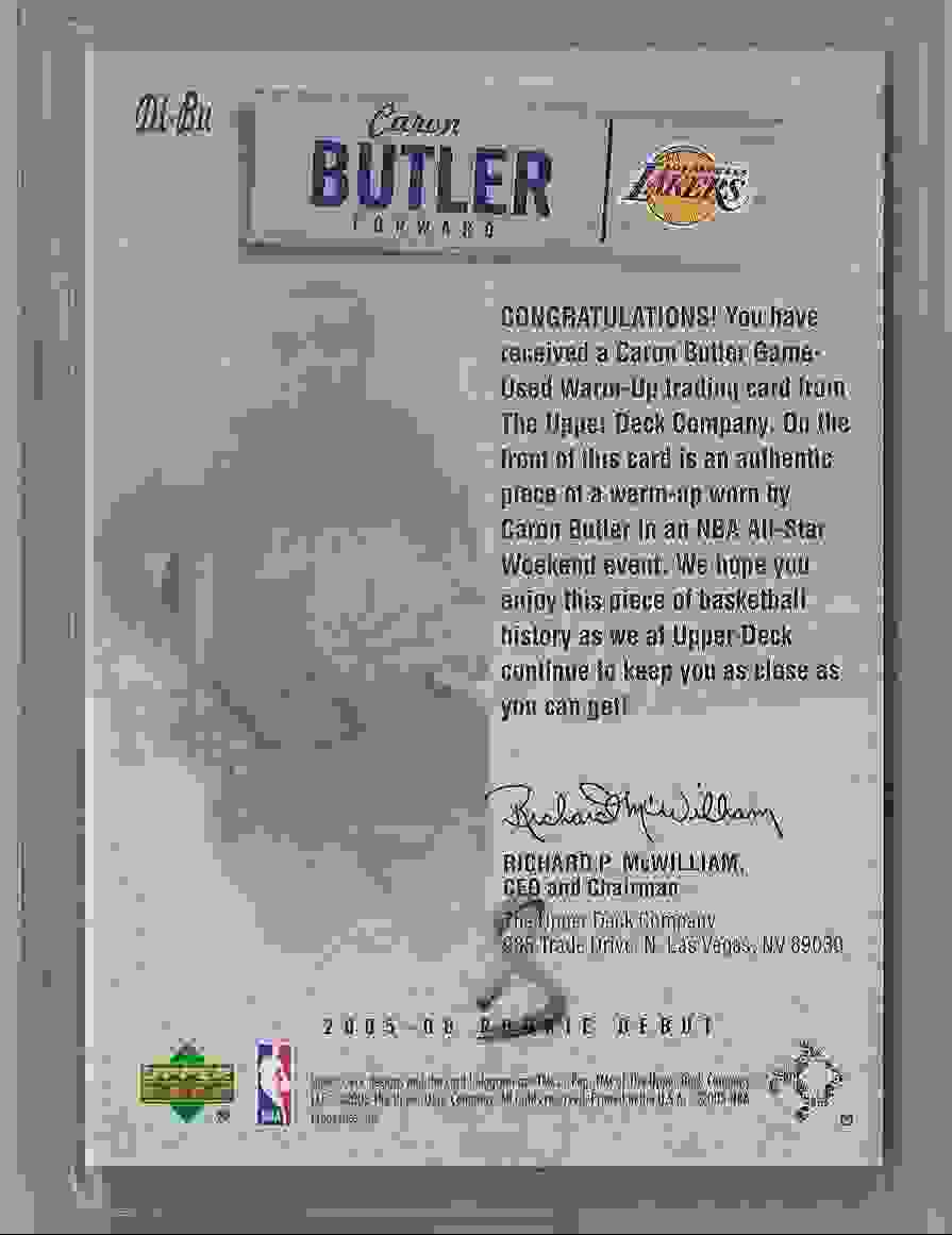 2005-06 Upper Deck Rookie Debut Threads Caron Butler #BU card back image