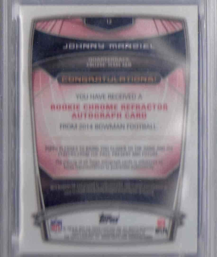 2014 Bowman Chrome Rookie Autographs Blue Refractors Johnny Manziel #12 card back image