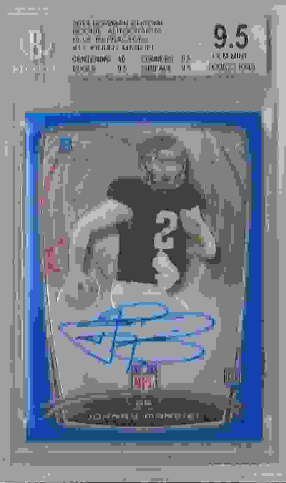 2014 Bowman Chrome Rookie Autographs Blue Refractors Johnny Manziel #12 card front image