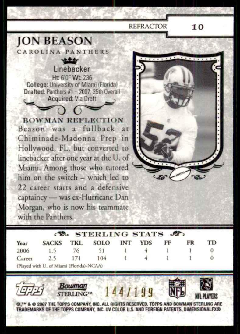 2007 Bowman Sterling Refractors Jon Beason #10 card back image