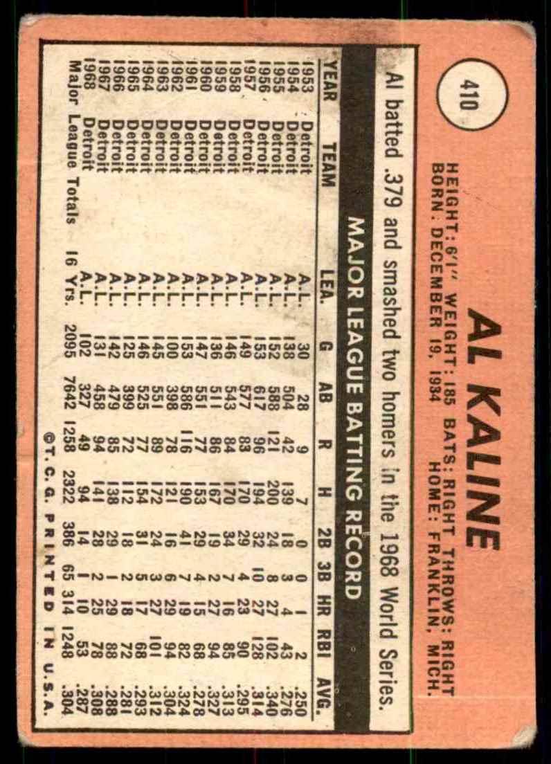 1969 Topps Al Kaline #410 card back image