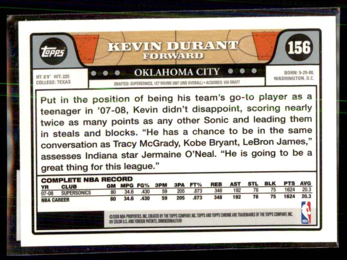 2008-09 Topps Chrome Kevin Durant #156 card back image