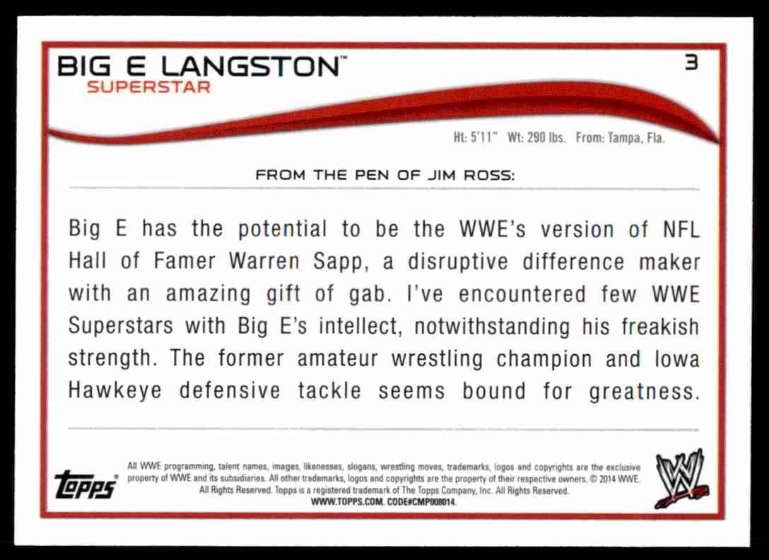 2014 Topps Wwe Big E Langston #3 card back image