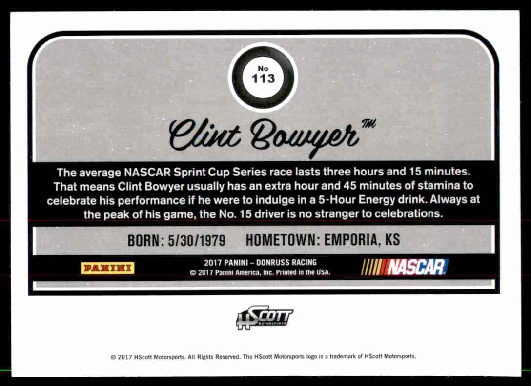 2017 Donruss Clint Bowyer #113 card back image