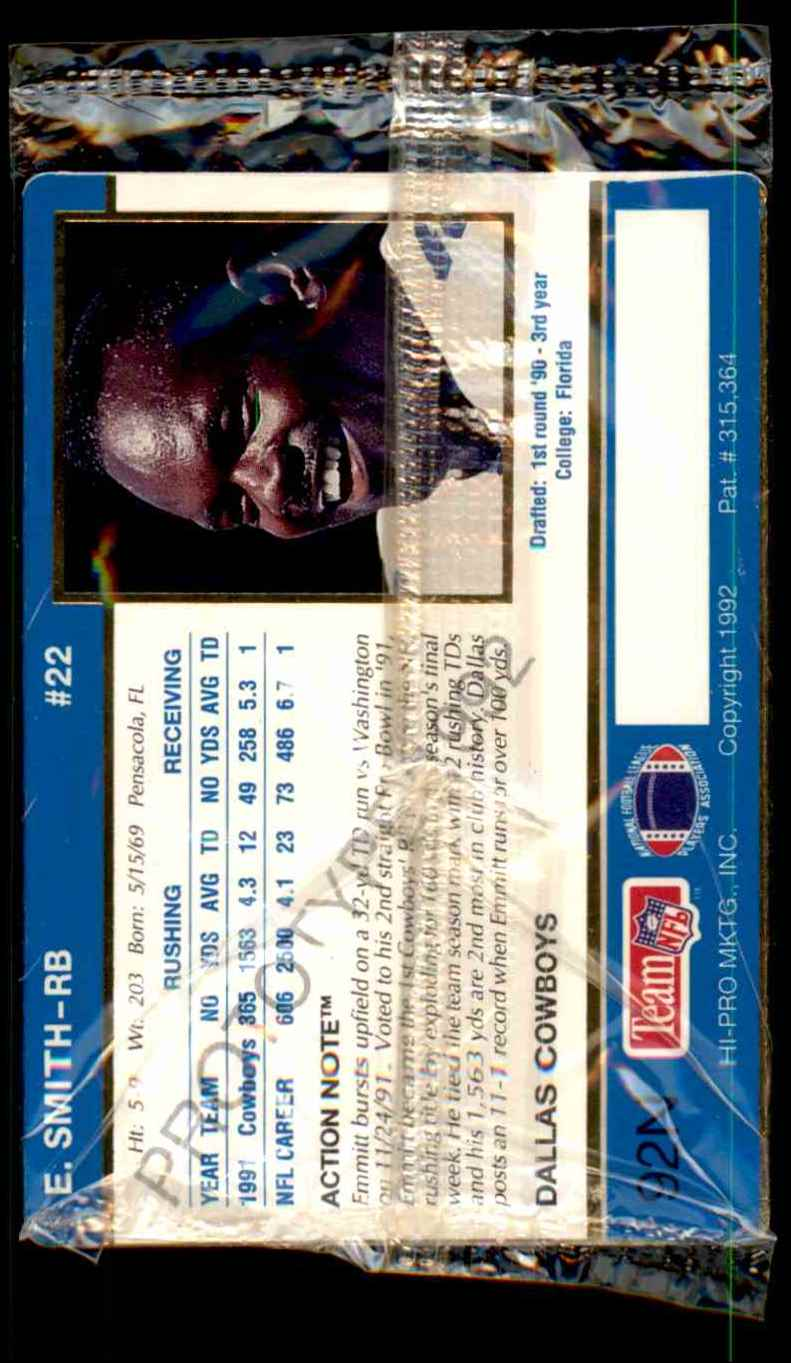 1992 Action Packed Prototypes Factory Sealed Emmitt Smith #92N card back image