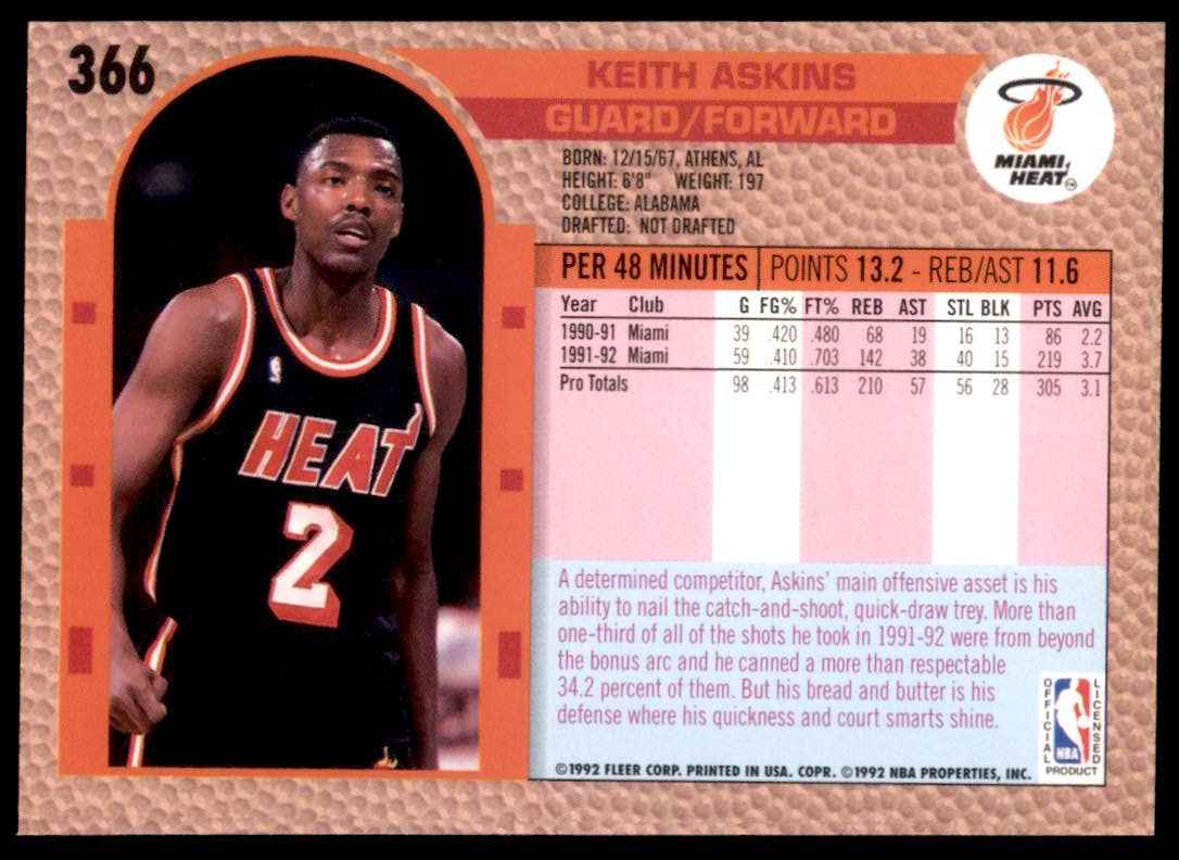1992-93 Fleer Keith Askins #366 card back image