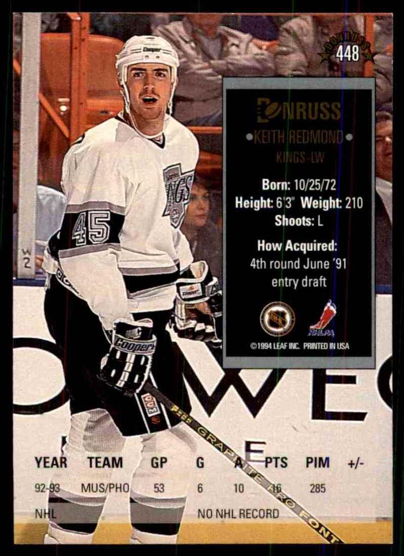 1993-94 Donruss Keith Redmond RC #448 card back image