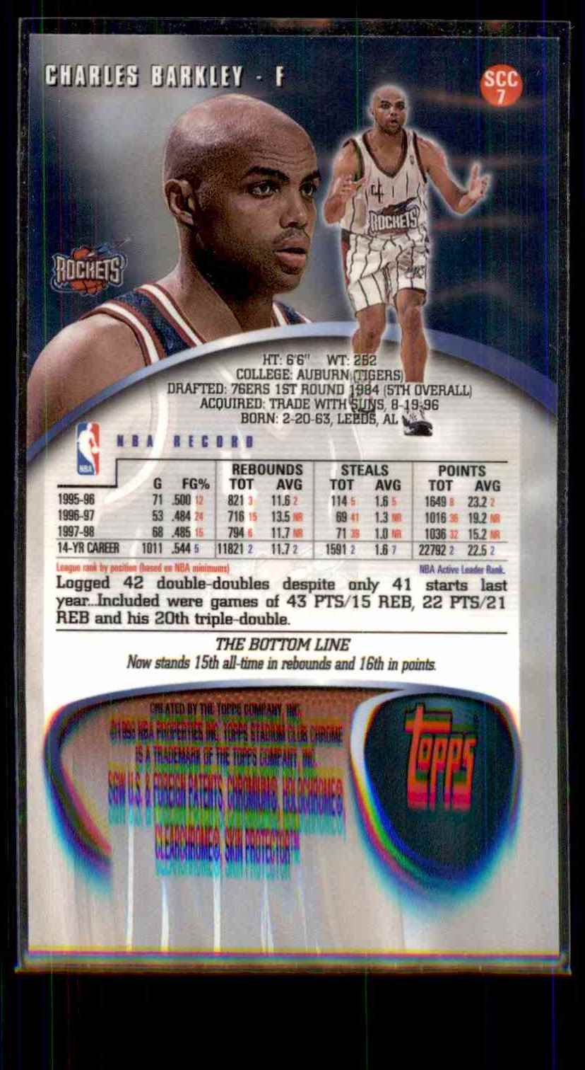 1998-99 Stadium Club Chrome Charles Barkley #SCC7 card back image