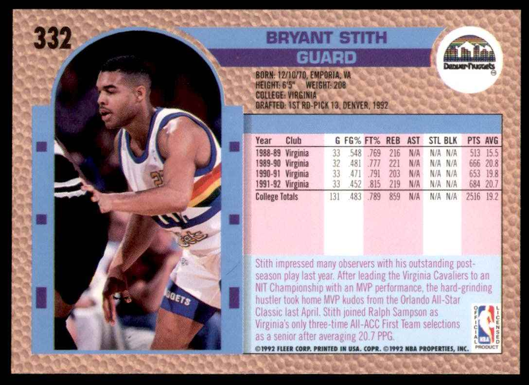1992-93 Fleer Bryant Stith RC #332 card back image