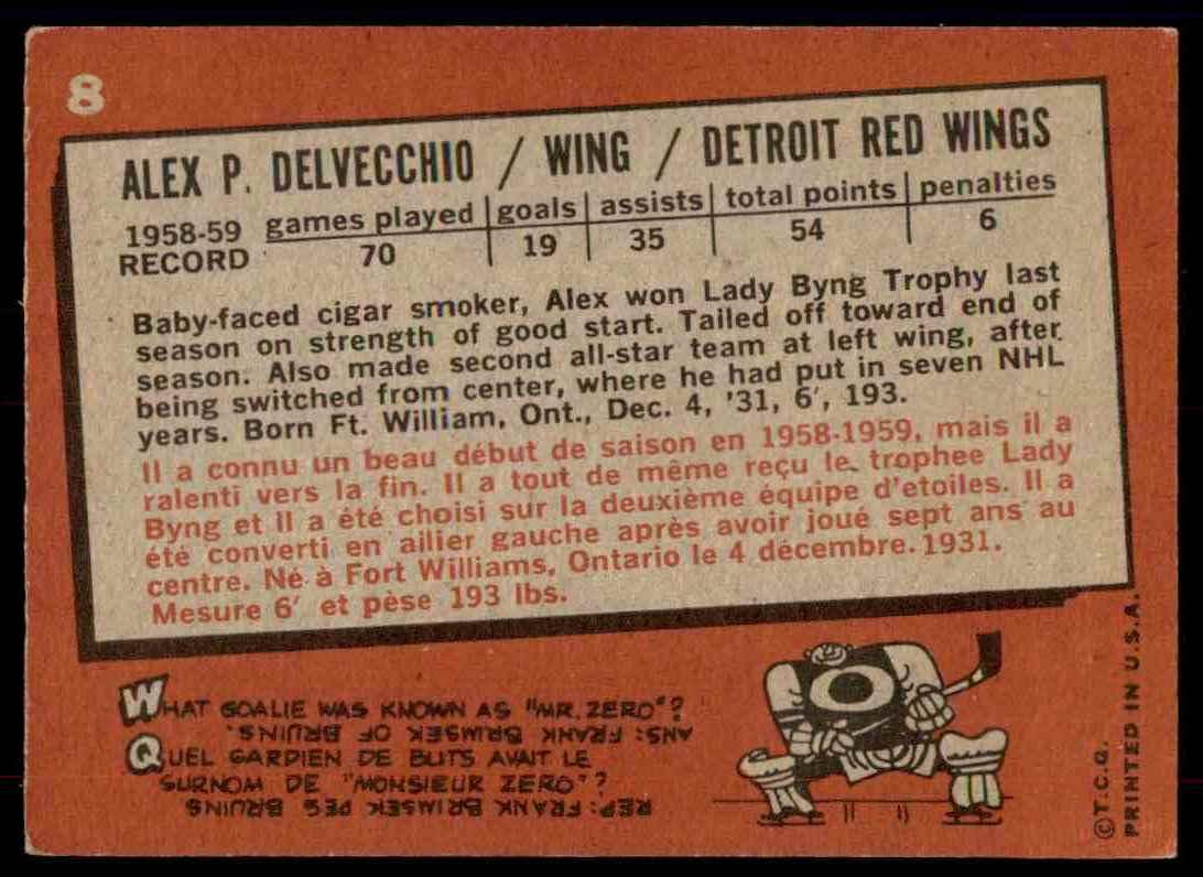 1959-60 Topps Topps Alex Delvecchio #8 card back image