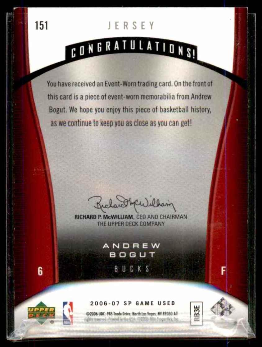 2006-07 SP Game Used Andrew Bogut Jsy #151 card back image
