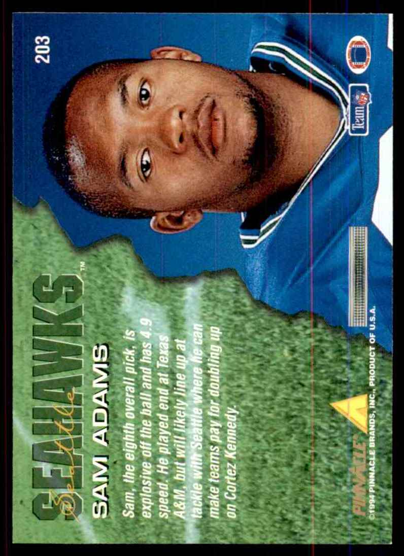 1994 Pinnacle Sam Adams RC #203 card back image