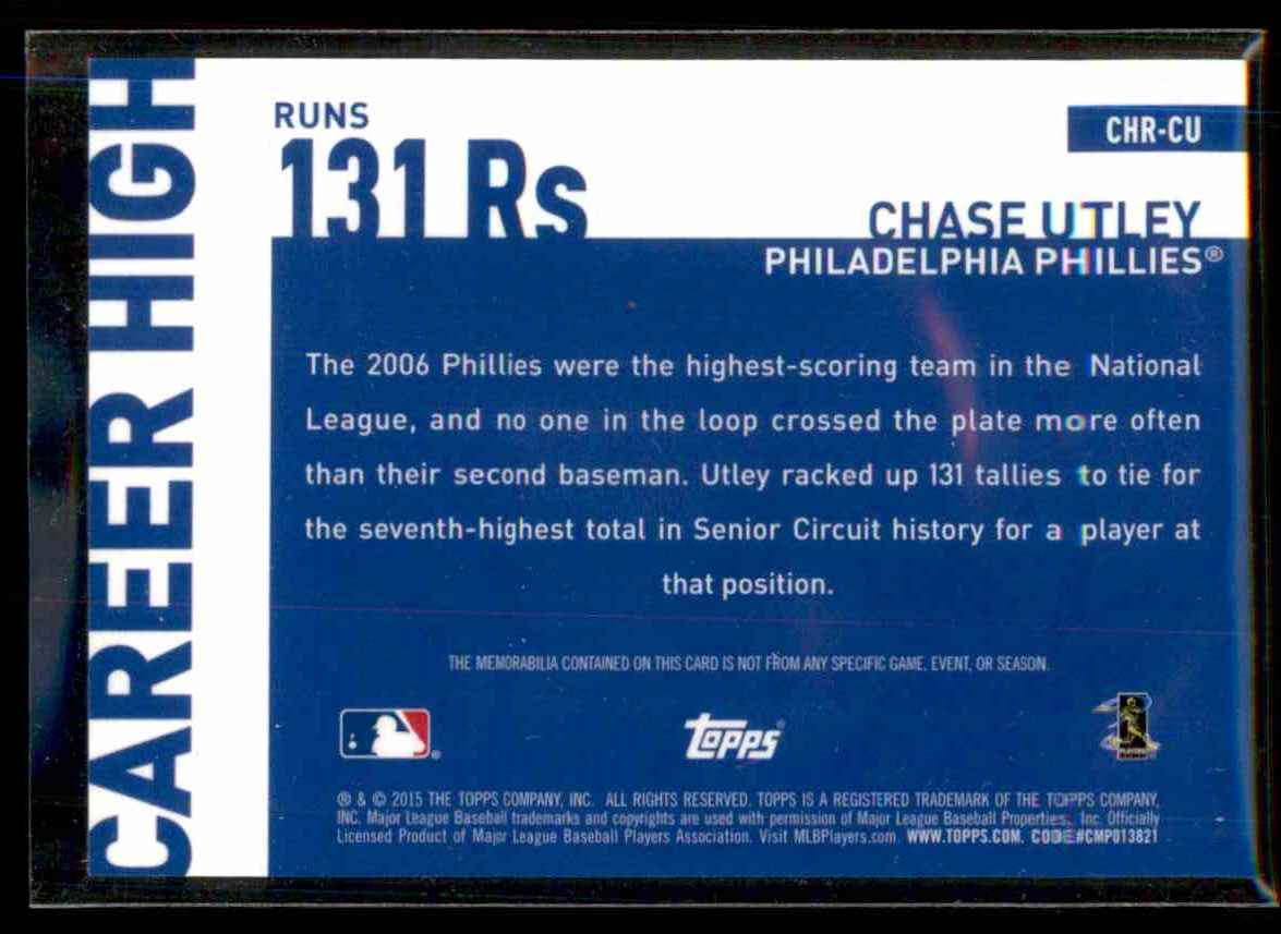 2015 Topps Career High Relics Chase Utley S2 #CHRCU card back image