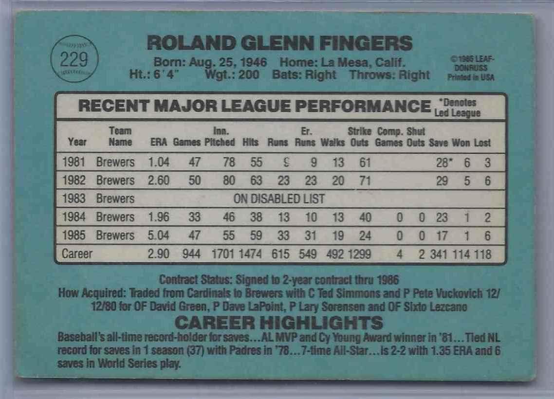 1986 Donruss Rollie Fingers #229 card back image
