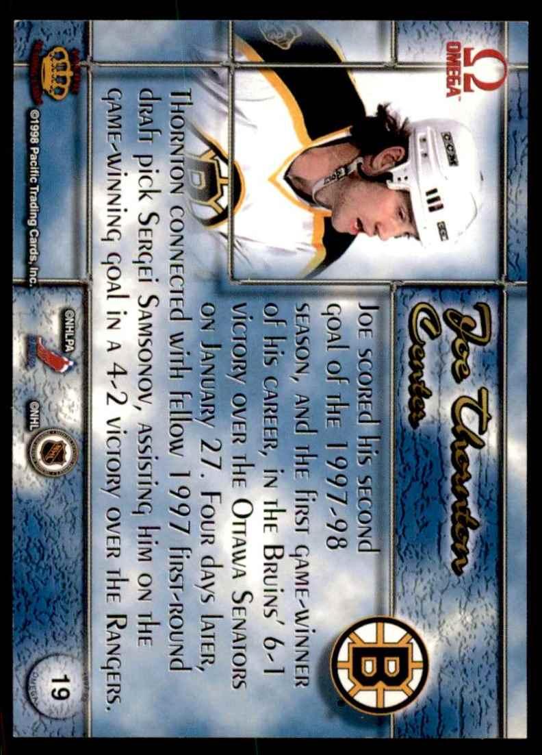 1997-98 Pacific Omega Joe Thornton #19 card back image