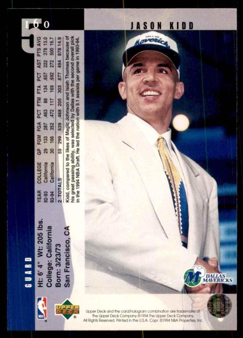 1994-95 Upper Deck Jason Kidd RC #160 card back image