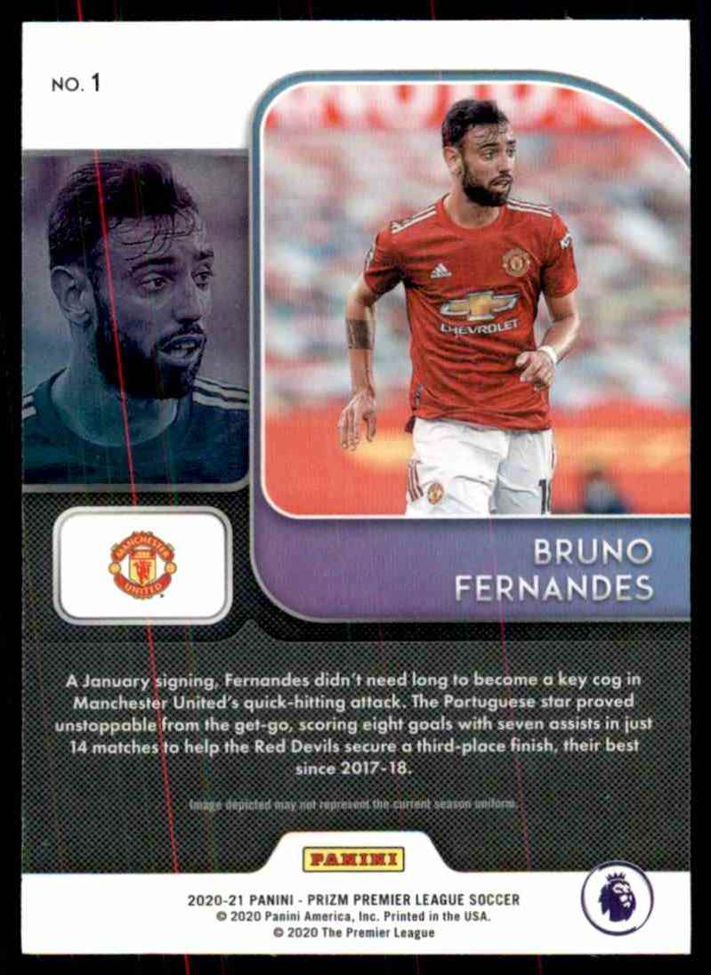 2020 Panini Prizm English Premier League Instant Impact Bruno Fernandes #1 card back image