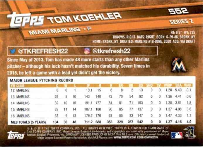 2017 Topps Series 2 Tom Koehler #552 card back image