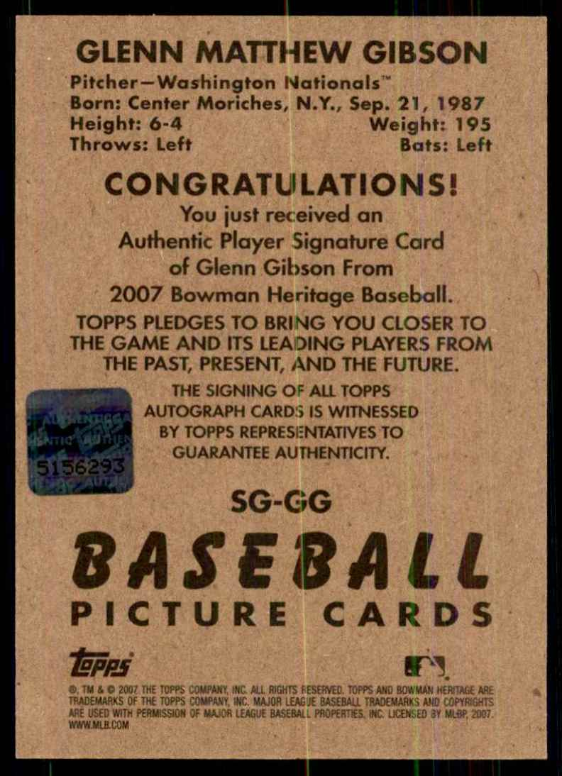 2007 Bowman Heritage Signs Of Greatness Glenn Gibson F #GG card back image