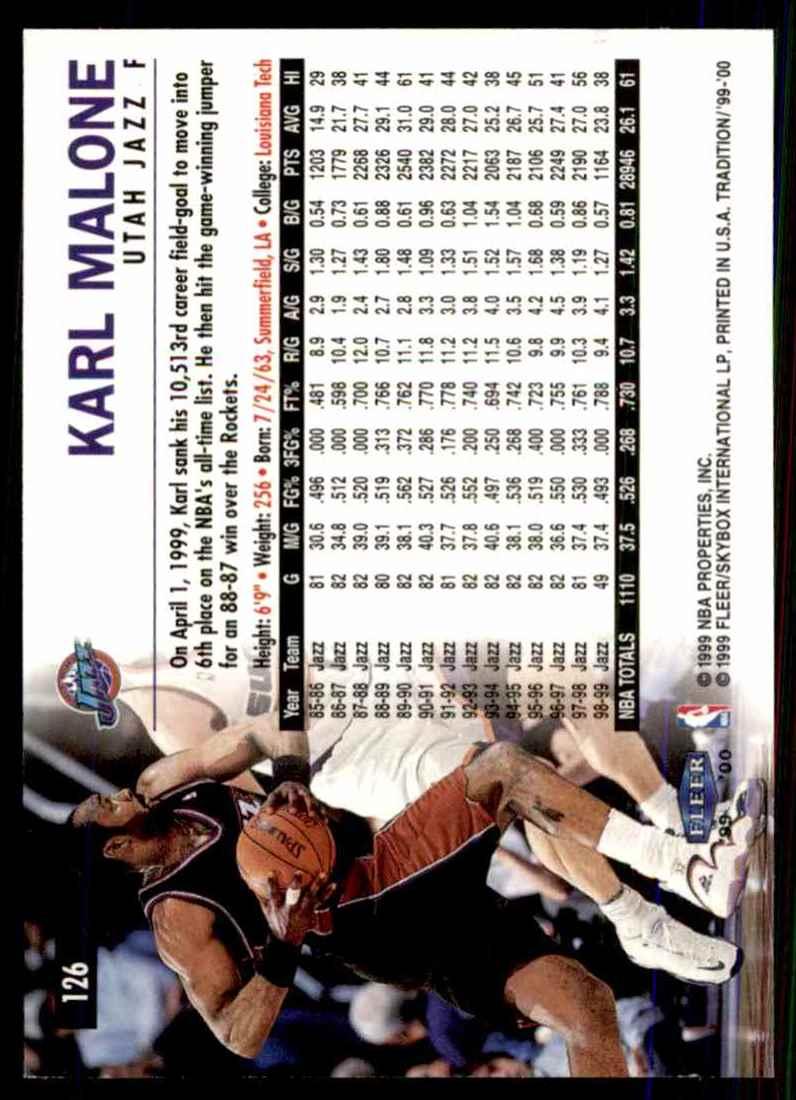 1999-00 Fleer Karl Malone #126 card back image