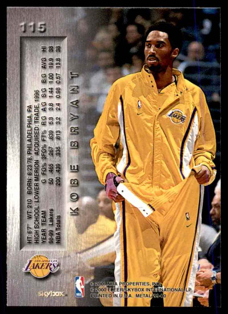 1999-00 Fleer Metal Kobe Bryant #115 card back image