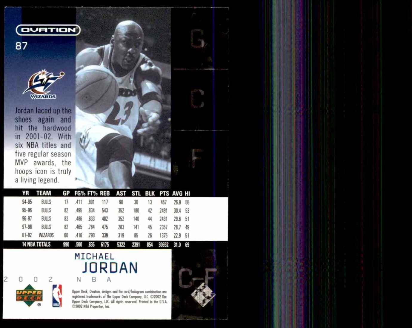 2002-03 Upper Deck Ovation Michael Jordan #87 card back image