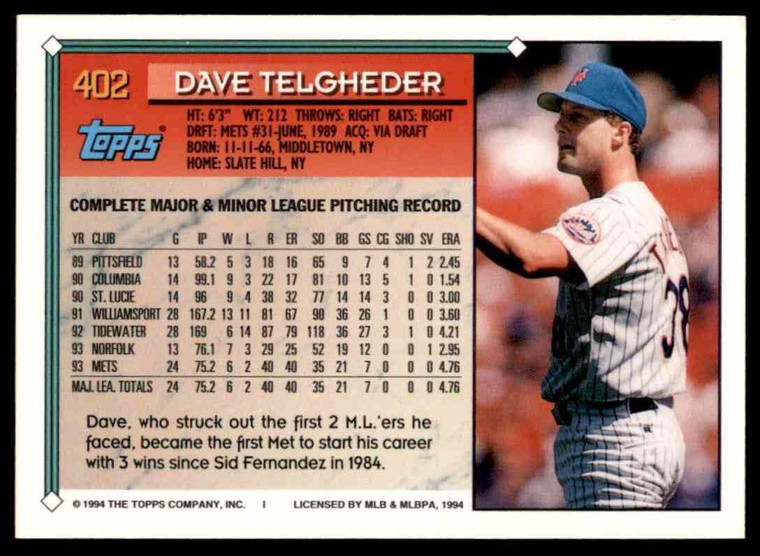 1994 Topps Gold Dave Telgheder #402 card back image