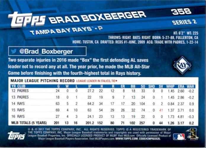 2017 Topps Series 2 Brad Boxberger #358 card back image