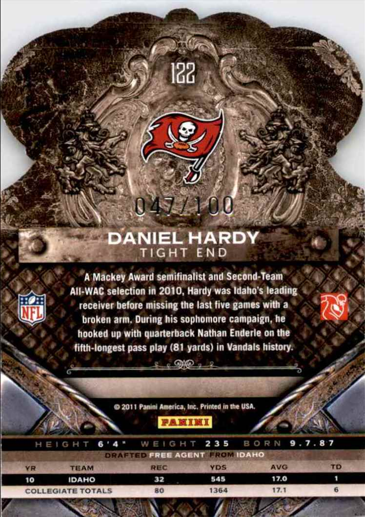 2011 Crown Royale Blue Daniel Hardy #122 card back image