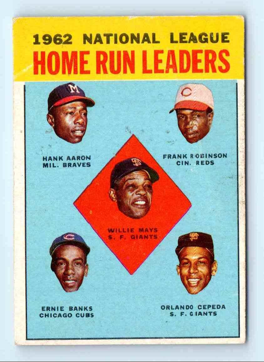 1963 Topps Hank Aaron Willie Mays Ernie Banks 3 On Kronozio