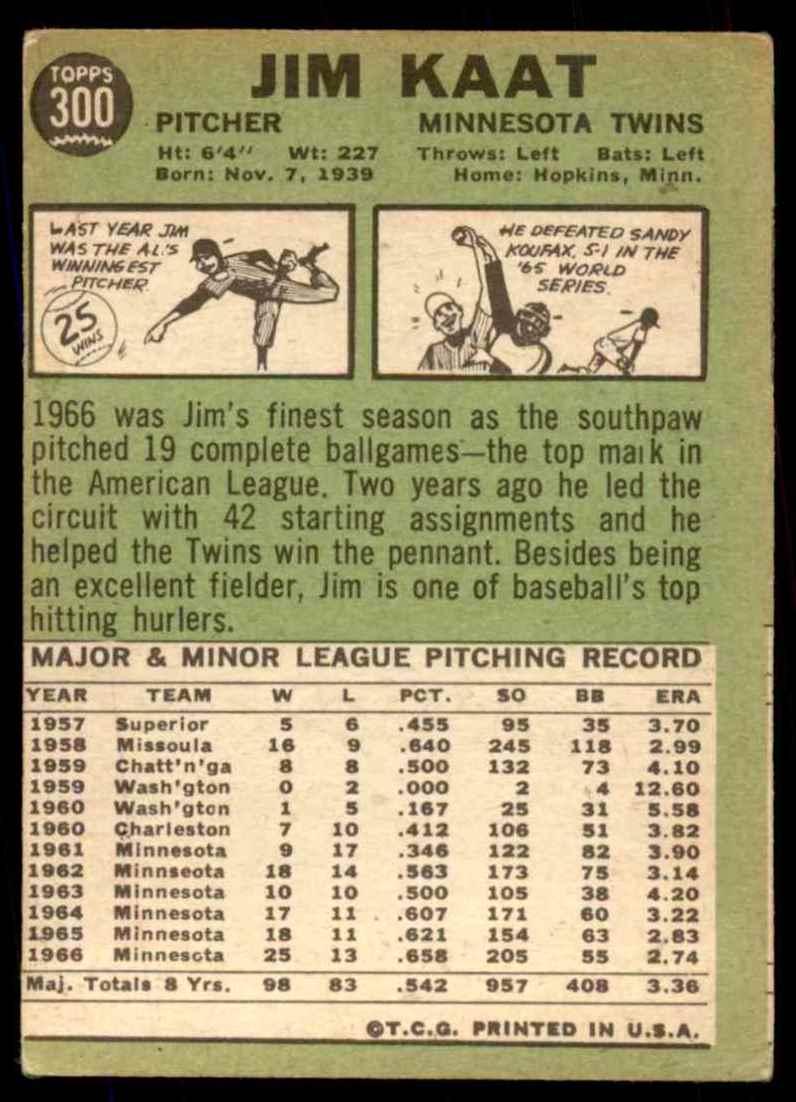 1967 Topps Jim Kaat #300 card back image