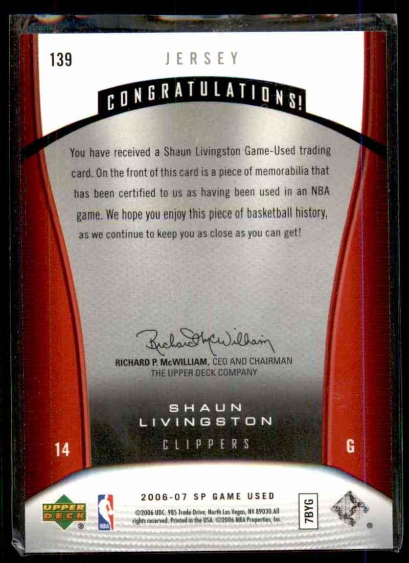 2006-07 SP Game Used Shaun Livingston Jsy #139 card back image
