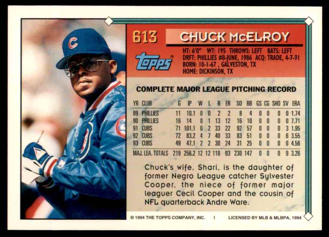 1994 Topps Chuck McElroy #613 card back image