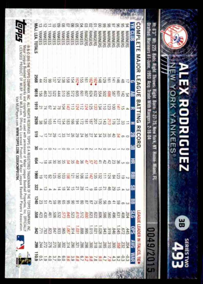 2015 Topps Gold Alex Rodriguez #493 card back image