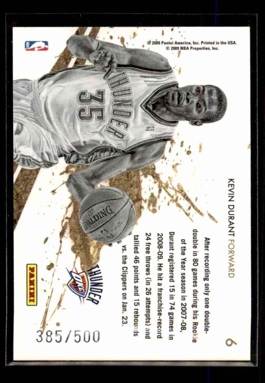 2009-10 Rookies And Stars Gold Stars Gold Kevin Durant #6 card back image