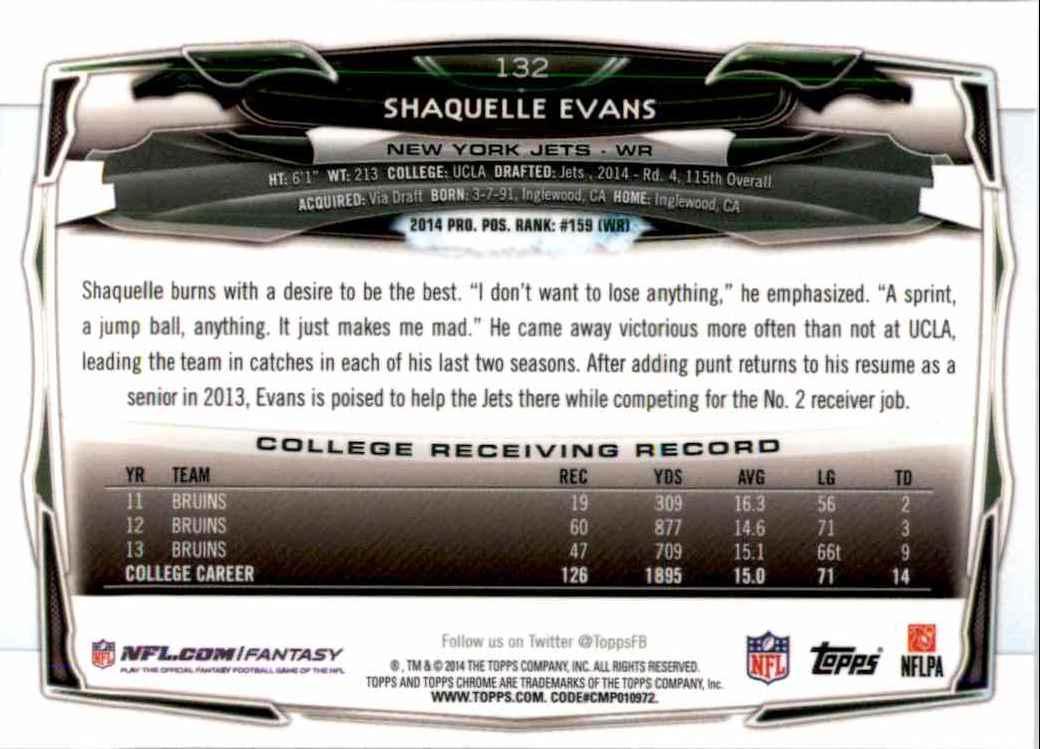 2014 Topps Chrome Shaquelle Evans RC #132 card back image