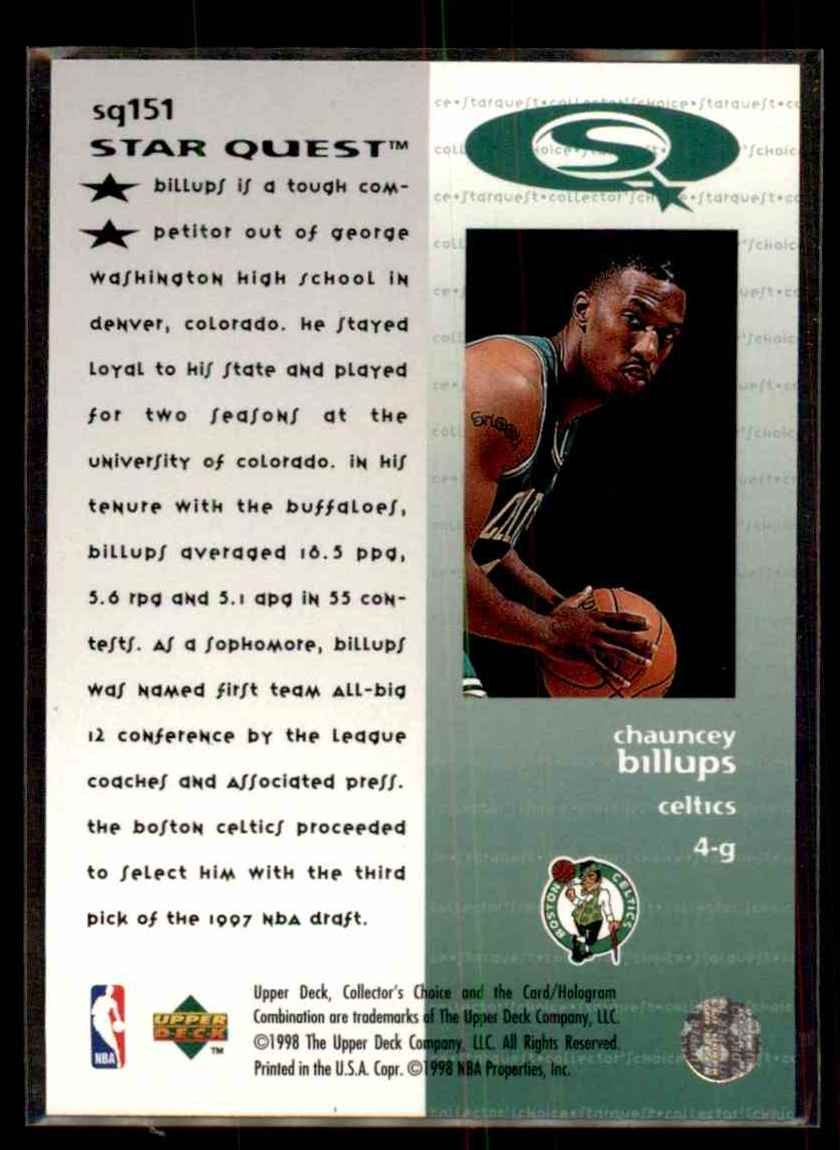 1997-98 Collector's Choice Starquest Chauncey Billups #151 card back image