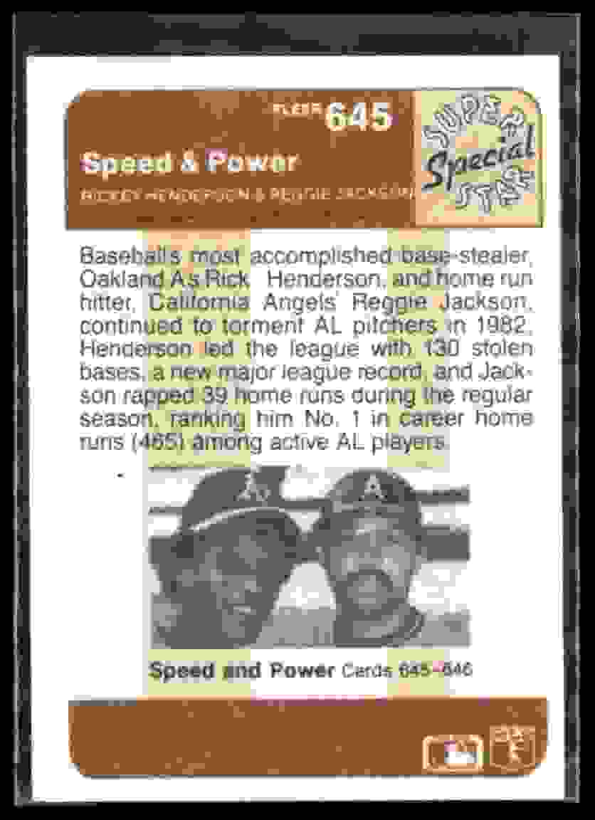 1983 Fleer Reggie Jackson #645 card back image