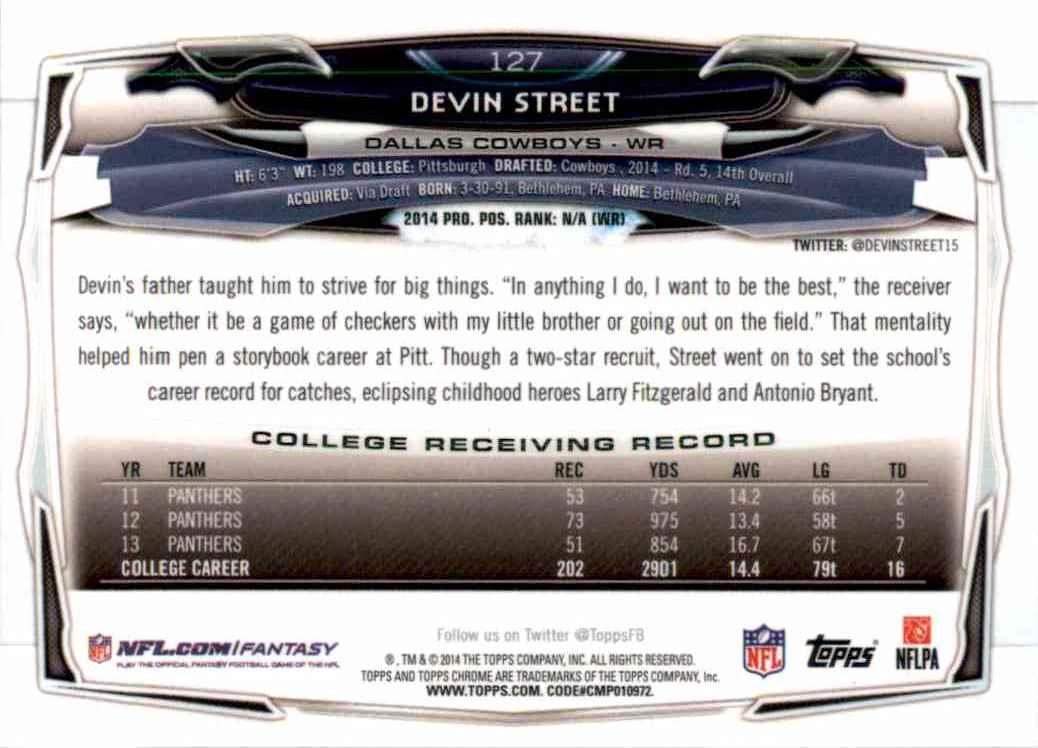2014 Topps Chrome Devin Street RC #127 card back image