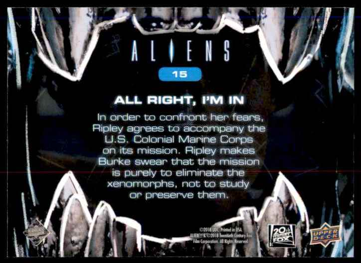 2018 Aliens Alright/ I'm In #15 card back image