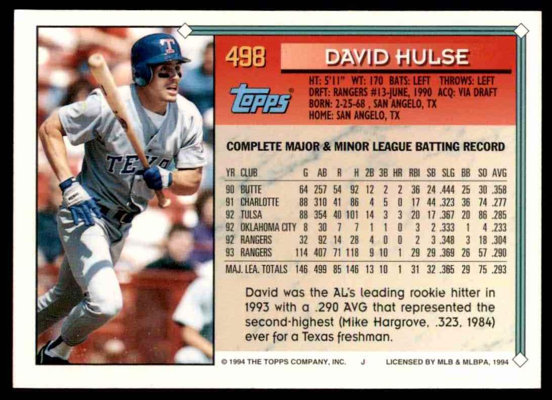 1994 Topps David Hulse #498 card back image