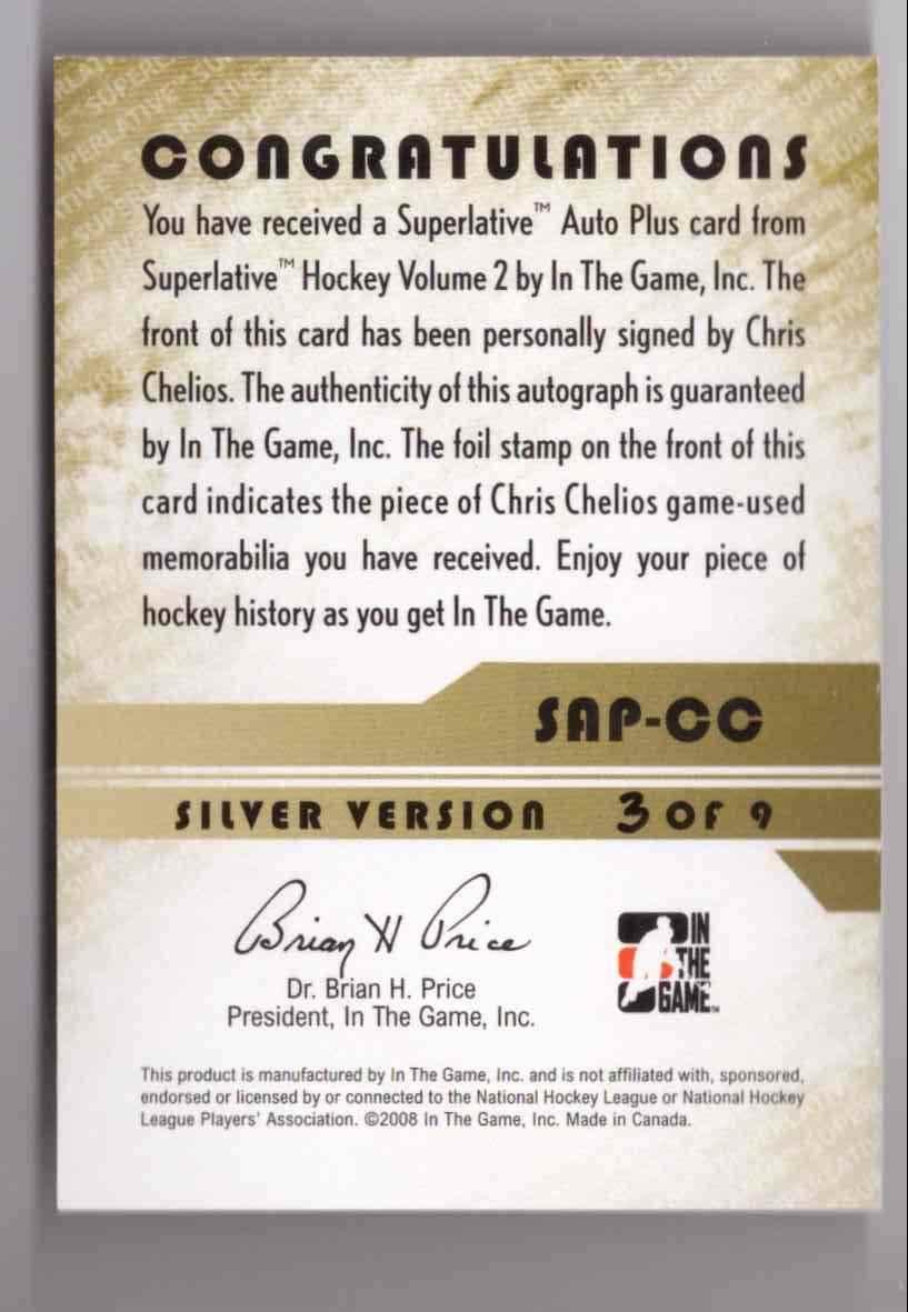 2008-09 ITG Superlative Chris Chelios #SAP-CC card back image